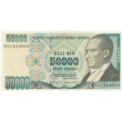 Turkey, 50.000 Lira, 1989, AUNC, 7/1. Emission, p203br/Atatürk portrait, serial number: H02 614930,