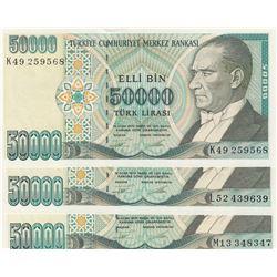 Turkey, 50.000 Lira, 1995, UNC, 7/2. Emission, p204, (Total 3 banknotes)br/serial numbers:  K49 2595