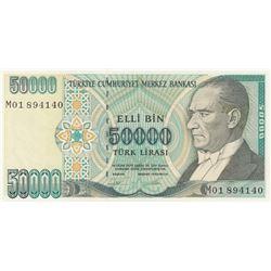 """Turkey, 50.000 Lira, 1995, UNC, 7/2. Emission, p204, """"M01"""" first prefixbr/serial  number: M01 894140"""