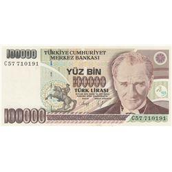 Turkey, 100.000 Lira, 1991, UNC, 7/1. Emission, P205abr/Atatürk portrait, serial number: C57 710191,