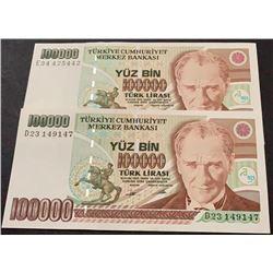 Turkey, 100.000 Lira, 1994, UNC, 7/2. Emission, p205b, (Total 2 banknotes)br/serial numbers:  D23 14