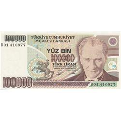 """Turkey, 100.000 Lira, 1994, UNC, 7/2. Emission, p205b, """"D01"""" first prefixbr/serial number: D01 41097"""