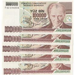 Turkey, 100.000 Lira, 1996, UNC, 7/3. Emission, p205c, (Total 5 banknotes)br/serial numbers:  F42 10