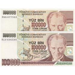 Turkey, 100.000 Lira, 1996, UNC, 7/3. Emission, p205c, DIFFERENT WATERMARK, (Total 2 banknotes)br/se