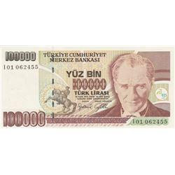 """Turkey, 100.000 Lira, 1996, UNC, 7/3. Emission, p205c, """"H01"""" first prefixbr/serial number: I01 06245"""
