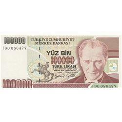 """Turkey, 100.000 Lira, 1996, UNC, 7/3. Emission, p205c, """"I90"""" first prefixbr/serial number: I90 08647"""