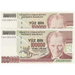 """Turkey, 100.000 Lira, 1996, UNC, 7/3. Emission, p205c, """"I90"""" last prefix, (Total 2 banknotes)br/seri"""
