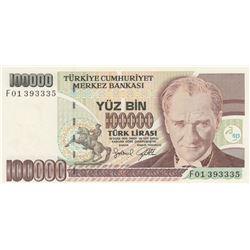 """Turkey, 100.000 Lira, 1996, UNC, p205c, """"F01""""br/Atatürk portrait, serial number: F01 393335"""