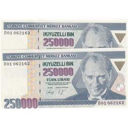 "Turkey, 250.000 Lira, 1992, UNC, 7/1. Emission, p207, ""D01"", (Total 2 consecutive banknotes)br/Atatü"