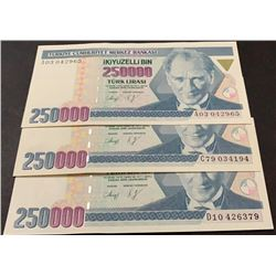 Turkey, 250.000 Lira, 1992, UNC, 7/1. Emission, p207, (Total 3 banknotes)br/serial numbers:  A03 042