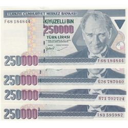 Turkey, 250.000 Lira, 1998, UNC, 7/3. Emission, p211, (Total 4 banknotes)br/serial numbers:   F68 18