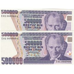 "Turkey, 500.000 Lira, 1994, UNC, 6/3. Emission, p208c, ""E01"", ""Low serial Numbers"", (Total 2 banknot"