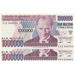 Turkey, 1.000.000 Lira, 1995, UNC, 7/1. Emission, p209a, (Total 2 banknotes)br/serial numbers: C83 8