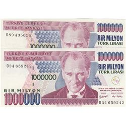 Turkey, 1.000.000 Lira, 2002, UNC, 7/3. Emission, p209c, DIFFERENT WATERMARK, (Total 2 banknotes)br/