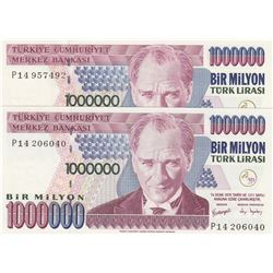 Turkey, 1.000.000 Lira, 2002, UNC, 7/3. Emission, p209c, (Total 3 banknotes)br/serial numbers: P14 2