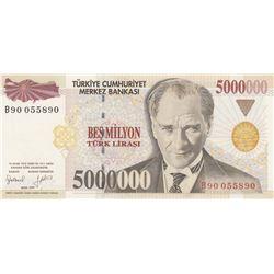 """Turkey, 5.000.000 Lira, 1997, UNC, 7/1. Emission, p210a, """"B90""""br/Atatürk portrait, serial number: B9"""