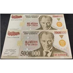 Turkey, 5.000.000 Lira, 1997, UNC, 7/1. Emission, p210a, (Total 2 banknotes)br/serial numbers: C41 1