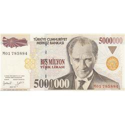 """Turkey, 5.000.000 Lira, 1997, UNC, 7/1. Emission, p201b, """"M01"""" first prefixbr/serial number: M01 785"""