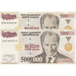 Turkey, 5.000.000 Lira, 1997, UNC, 7/1. Emission, p210b, DIFFERENT WATERMARK, (Total 2 banknotes)br/