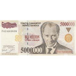 Turkey, 5.000.000 Lira, 1997, UNC (-), 7/1. Emission, p210bbr/Atatürk portrait, serial number: F63 6