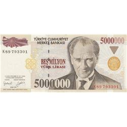Turkey, 5.000.000 Lira, 1997, AUNC, 7/1. Emission, P210br/Atatürk portrait, serial number: K89 79330