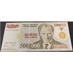 Turkey, 5.000.000 Lira, 1997, AUNC, 7/1. Emission, p210abr/serial number: A81 424303