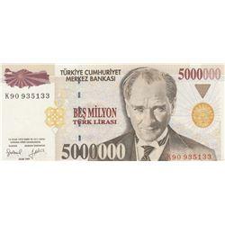 """Turkey, 5.000.000 Lira, 1997, AUNC, 7/1. Emission, p210b, """"K90"""" last prefixbr/serial number: K90 935"""
