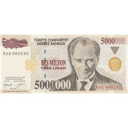 """Turkey, 5.000.000 Lira, 1997, UNC, 7/1. Emission, p210b, """"K01"""", """"Low Serial number"""" br/The product h"""