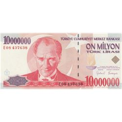 Turkey, 10.000.000 Lira, 1999, UNC, p214br/serial number: E08 437638