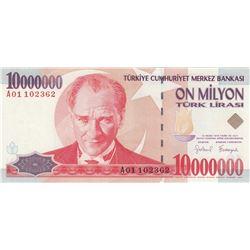 "Turkey, 10.000.000 Lira, 1999, UNC, 7/1. Emission, p214, ""A01"" first prefixbr/serial number: A01 102"