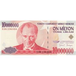 Turkey, 10.000.000 Lira, 1999, UNC, p214br/Atatürk portait, serial number: G38 236316