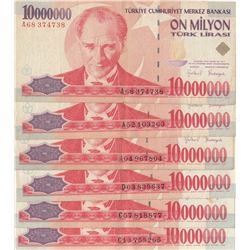Turkey, 10.000.000 Lira, XF, p213, (Total 6 banknotes)br/prefix numbers: A68 -A04-A52-C57-C13-D03