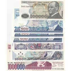 Turkey, 10 Lira, 500 Lira (3), 1.000 Lira, 10.000 Lira and 1.000.000 Lira, 1982/2002, UNC, (Total 7