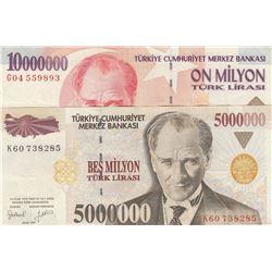 Turkey, 5.000.000 Lira and 10.000.000 Lira, 1997/1999, XF / AUNC, p213, p214, (Total 2 banknotes)br/
