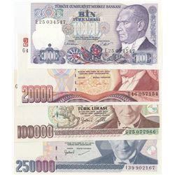 Turkey, 1.000 Lira, 20.000 Lira, 100.000 Lira and 250.000 Lira, 1986/1998, AUNC/UNC, 7. Emission,  p