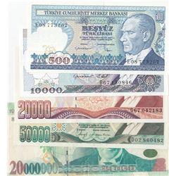 Turkey, 500 Lira, 10.000 Lira, 20.000 Lira, 50.000 Lira and 20.000.000 Lira, 1992/2001, XF/UNC, (Tot