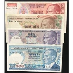 Turkey, 500 Lira, 1.000 Lira, 5.000 Lira and 20.000 Lira, AUNC  (+), 7. Emission first prefix lot, (