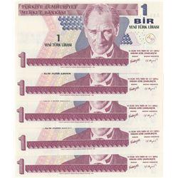Turkey, 1 New Turkish Lira, 2005, UNC, p216, (Total 5 consecutive banknotes)br/Atatürk portrait, ser