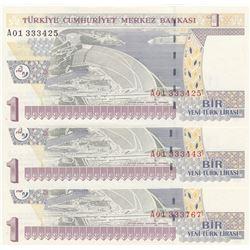 "Turkey, 1 New Turkish Lira, 2005, UNC, 8/1. Emission, p216, ""A01"", (Total 3 banknotes)br/Atatürk por"
