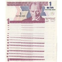 Turkey, 1 Turkish Lira, 2005, UNC, 8/1. Emission, p216, (Total 16 banknotes)br/Atatürk portrait,pref