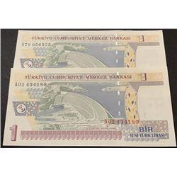 """Turkey, 1 New Turkish Lira, 2005, UNC, 8/1. Emission, p216, """"A01"""" first prefix and """"A79"""" last prefix"""