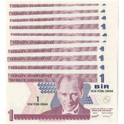 Turkey, 1 New Turkish Lira, 2005, UNC, 8/1. Emission, p216, Sequential prefix numbers, (Total 10 ban