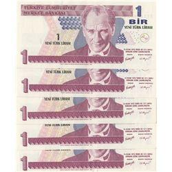 Turkey, 1 New Turkish Lira, 2005, XF / AUNC, p2016, (Total 5 banknotes)br/Atatürk portrait, prefix n