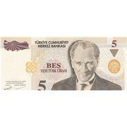"""Turkey, 5 New Turkish Lira, 2005, UNC, p217, """"G01""""br/Atatürk portrait, serial number: G01 095555"""