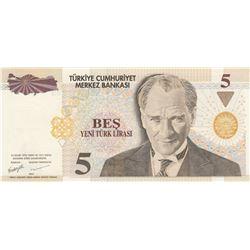 Turkey, 5 New Turkish Lira, 2005, UNC, p217, RADARbr/Atatürk portait, serial number: E90 332233