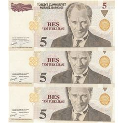 Turkey, 5 New Turkish Lira, 2005, UNC, 8/1. Emission, p217, (Total 3 banknotes)br/all banknotes end
