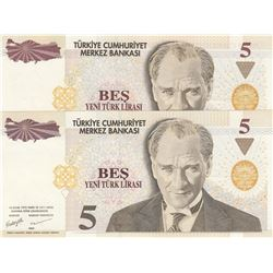 Turkey, 5 New Turkish LIra, 2005, UNC, 8/1. Emission, p217, DIFFERENT WATERMARK, (Total 2 banknotes)