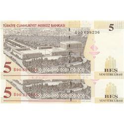 """Turkey, 5 New Turkish Lira, 2005, UNC, 8/1. Emission, p217, """"B90"""" last prefix, (Total 2 banknotes)br"""