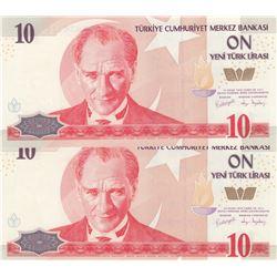 Turkey, 10 New Turkish Lira, 2005, UNC, 8/1. Emission, p218, (Total 2 banknotes)br/Atatürk portrait,