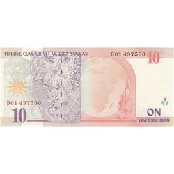 """Turkey, 10 New Turkish Lira, 2005, UNC, 8/1. Emission, p218, """"D01""""br/Atatürk portrait, serial number"""
